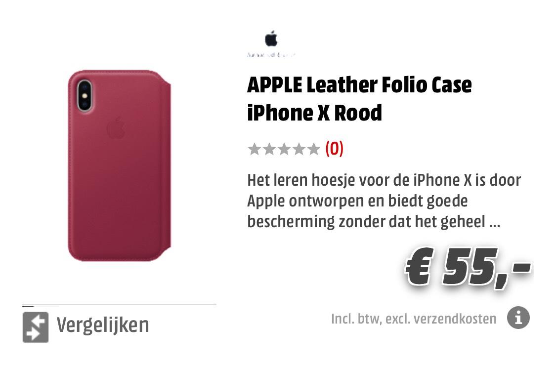 APPLE Leather Folio Case iPhone X Rood