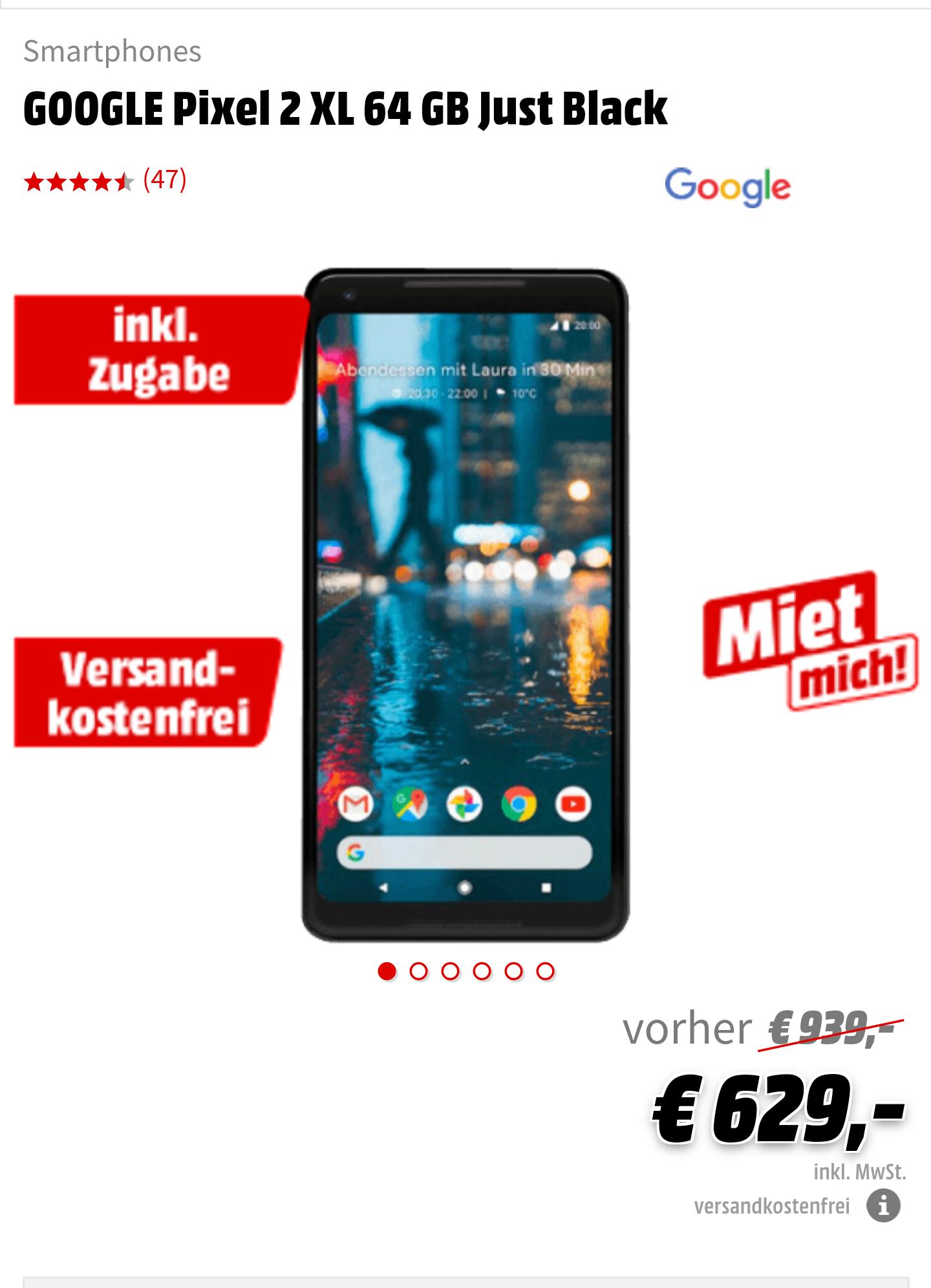 [GRENSDEAL DE] Google Pixel XL 2 64 gb just black + gratis voetbal