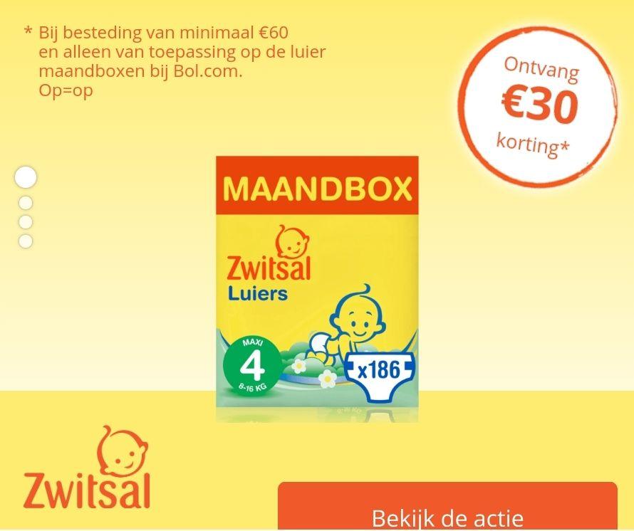 €30 korting op Zwitsal luier maandboxen bij Bol.com (na inschrijving zwitsal.nl)