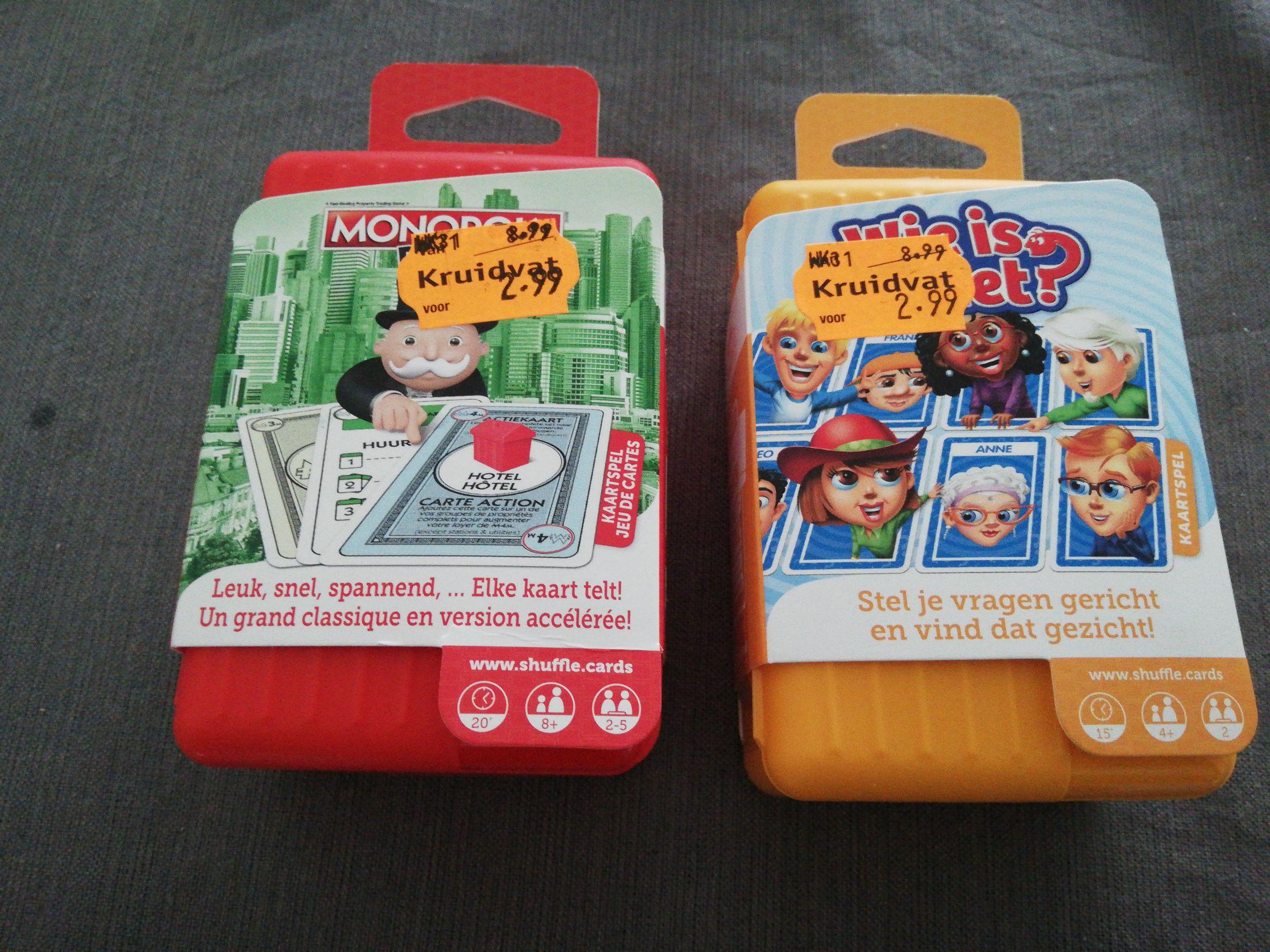 Monopoly en Wie is het? Shuffle kaartspel in de Kruidvat winkels!