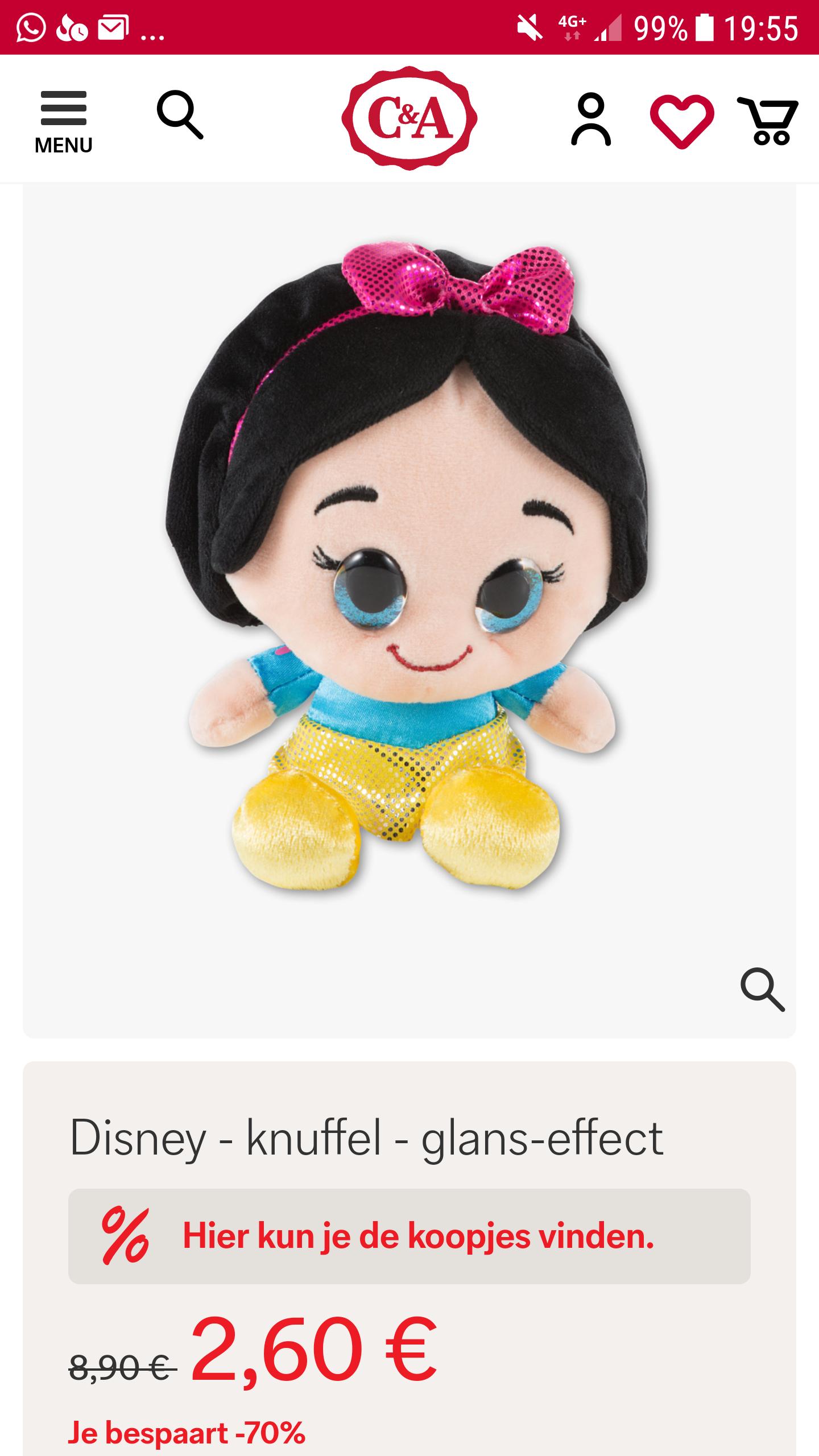 70% korting op Disney knuffel bij C&A