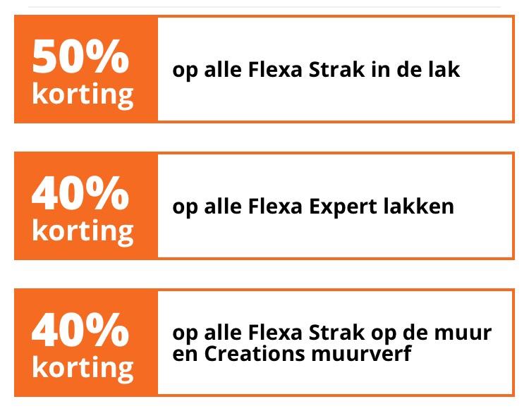 40% / 50% korting Flexa (verf / lak) @Gamma
