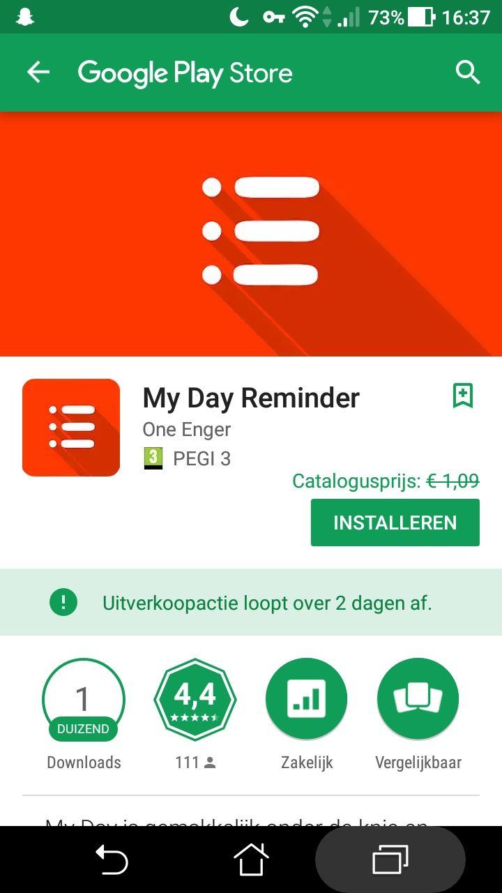 """Android app """"My Day Reminder"""" tijdelijk GRATIS"""