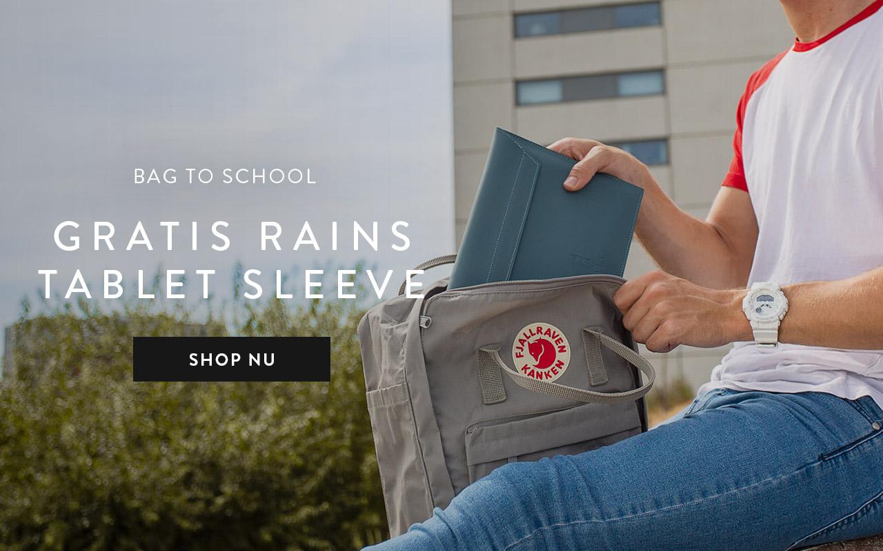 Een gratis Rains Tablet-sleeve t.w.v. 40,- bij geselecteerde school/ werk items.