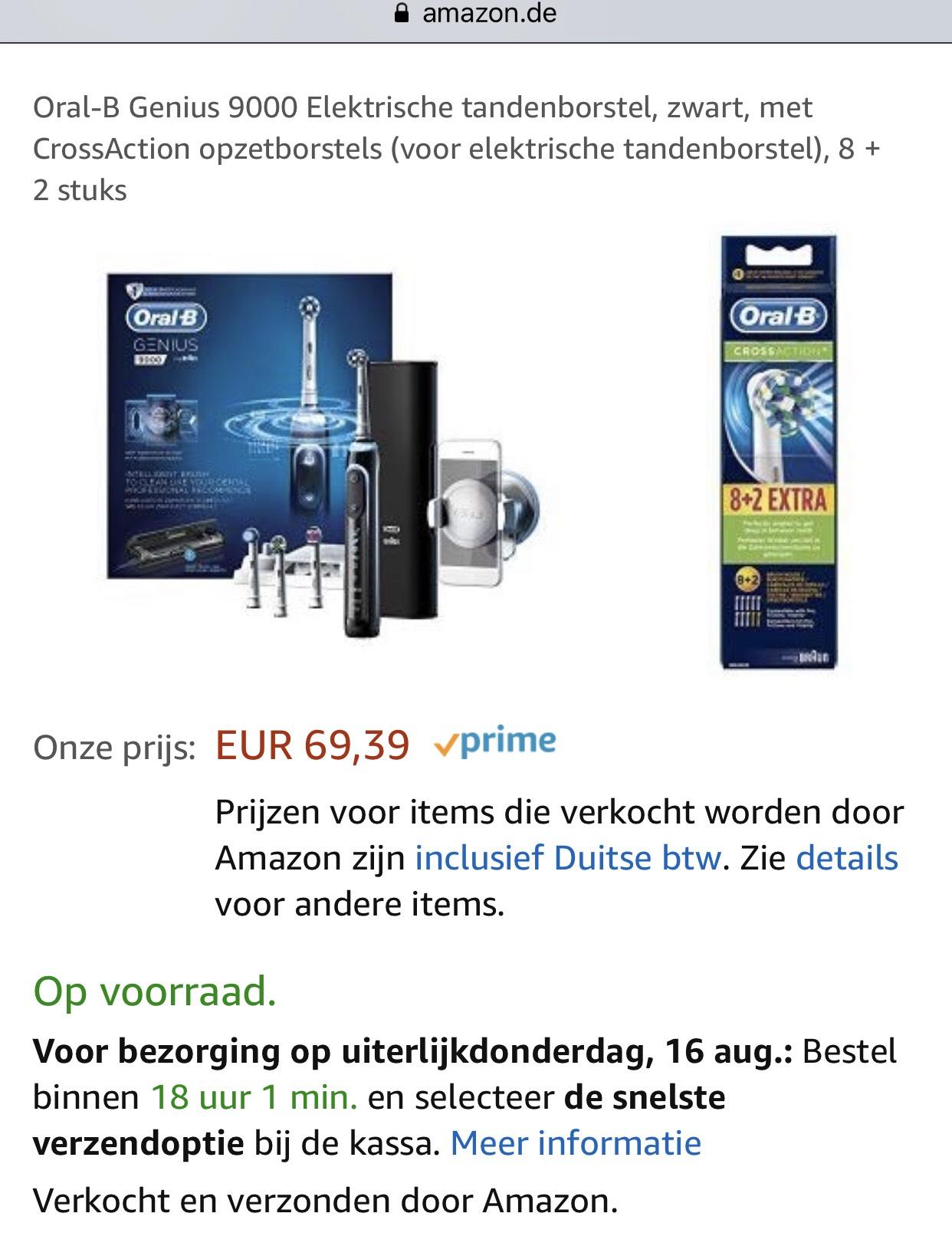 Oral-B Genius 9000 Elektrische tandenborstel, zwart, met CrossAction opzetborstels (voor elektrische tandenborstel), 8 + 2 stuks