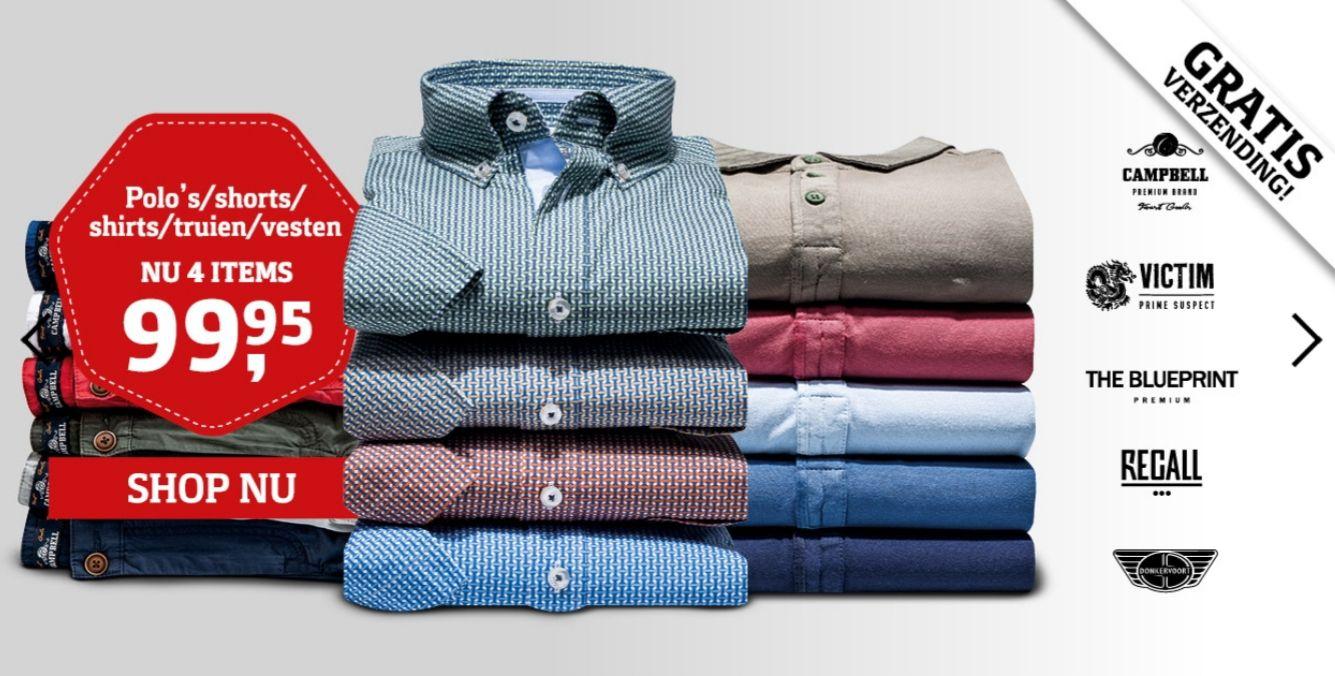 4 polo's/shorts/shirts/truien/vesten/overhemden