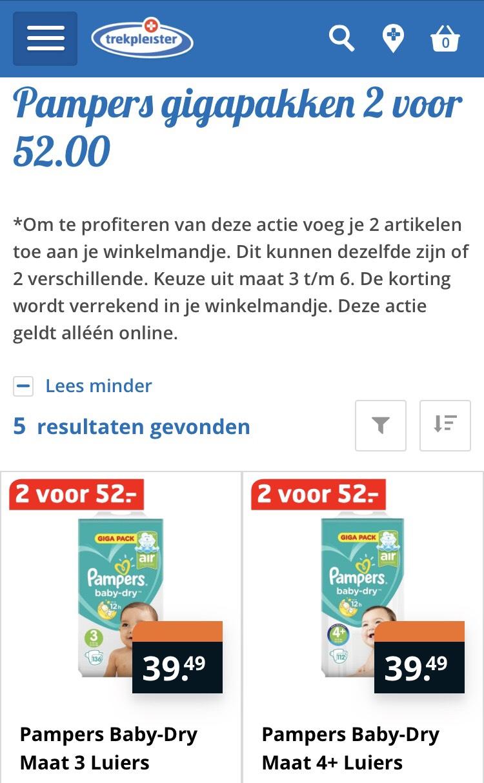 Pampers gigapakken 2 voor €52 euro