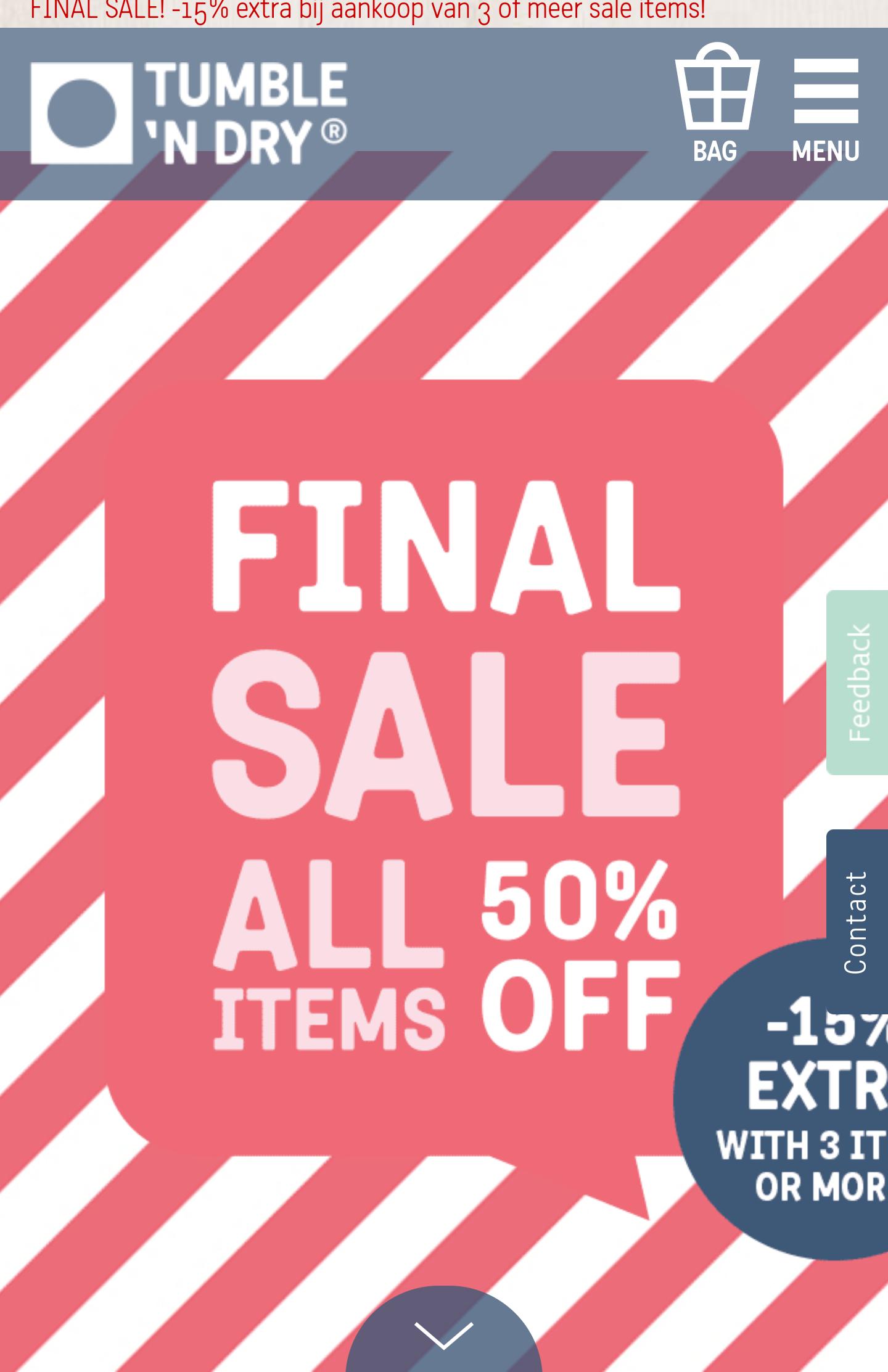 Tumble 'N Dry Sale 50% + 15% bij 3 artikelen