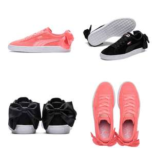 Puma suede Bow dames sneakers [zwart / roze] -70% @ The Athlete's Foot