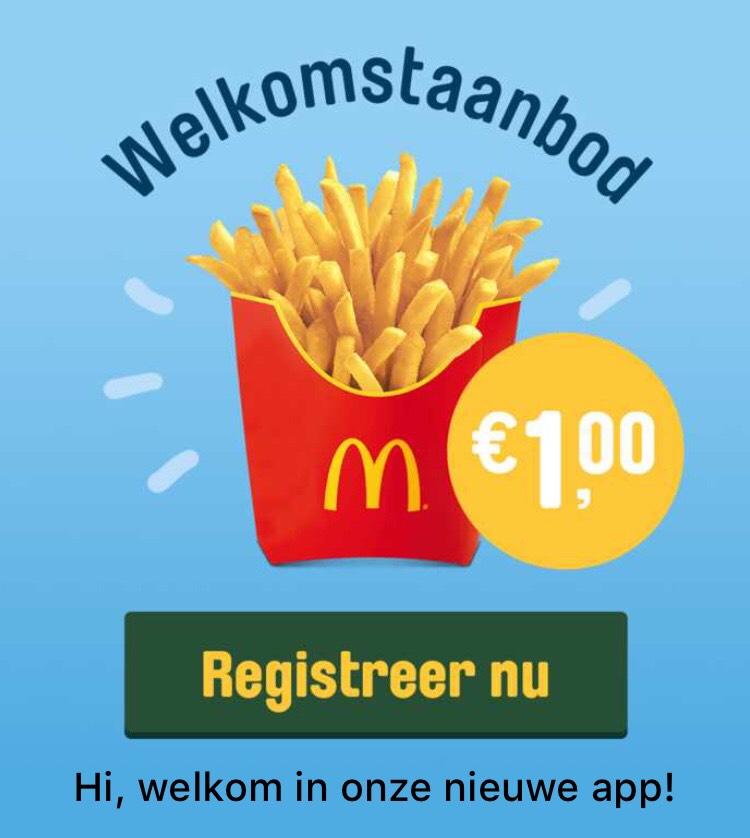 Medium Franse friet voor €1 in nieuwe McApp