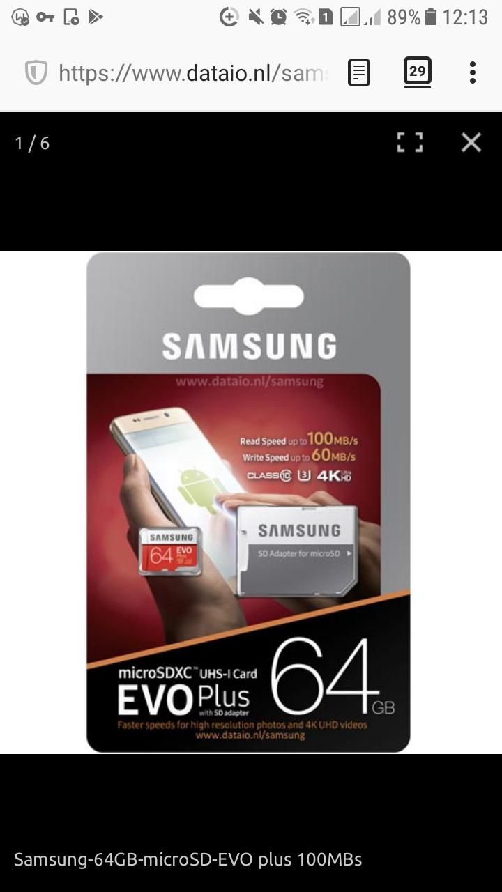 Samsung EVO Plus 64GB micro SD geheugenkaart 100MB/s