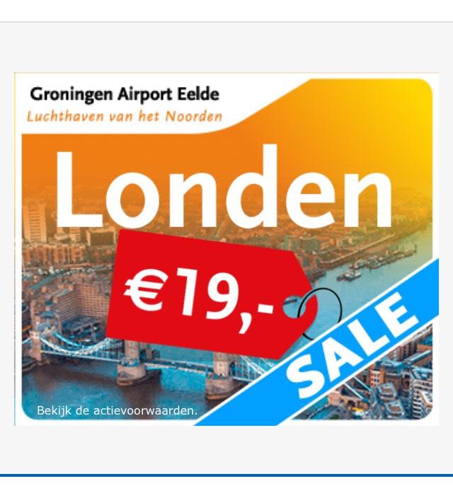 Actie: Tickets Groningen - Londen voor €19