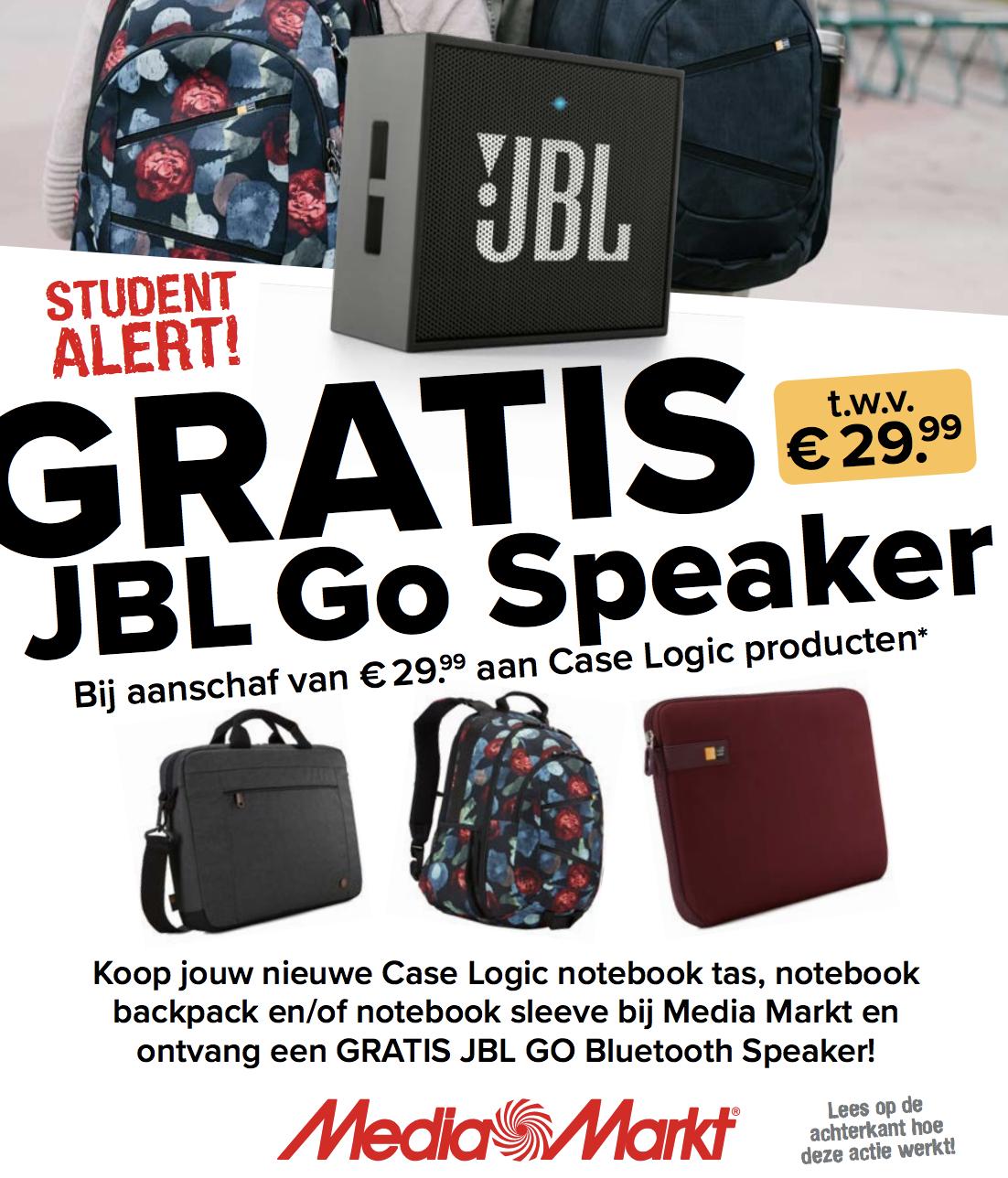 Gratis JBL Go Speaker bij Case Logic product via Media Markt!