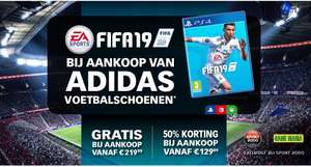FIFA 19 gratis of met 50% korting bij aanschaf Adidas voetbalschoenen