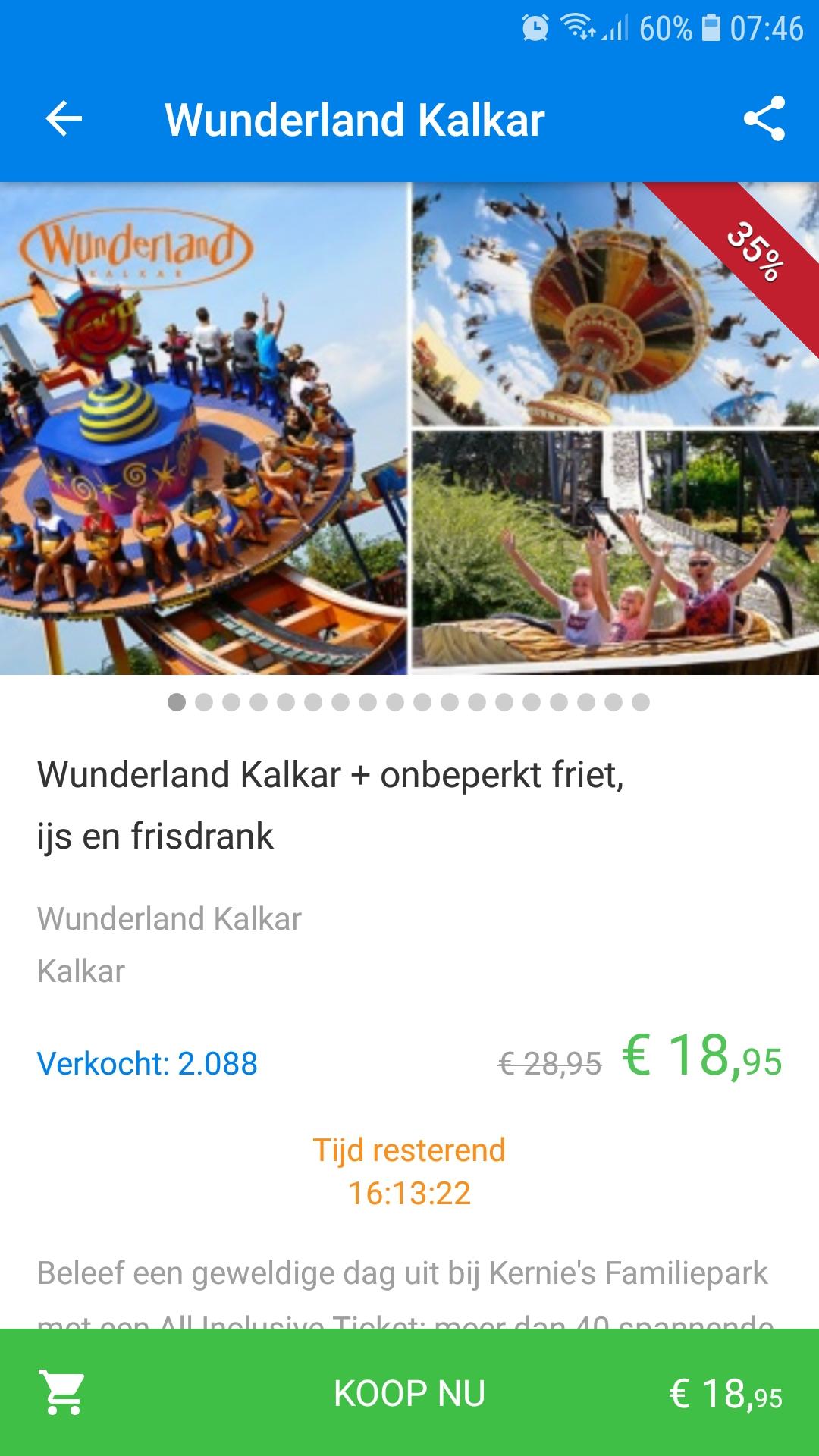 Wunderland kalkar voor €18.95 pp ipv 28.95