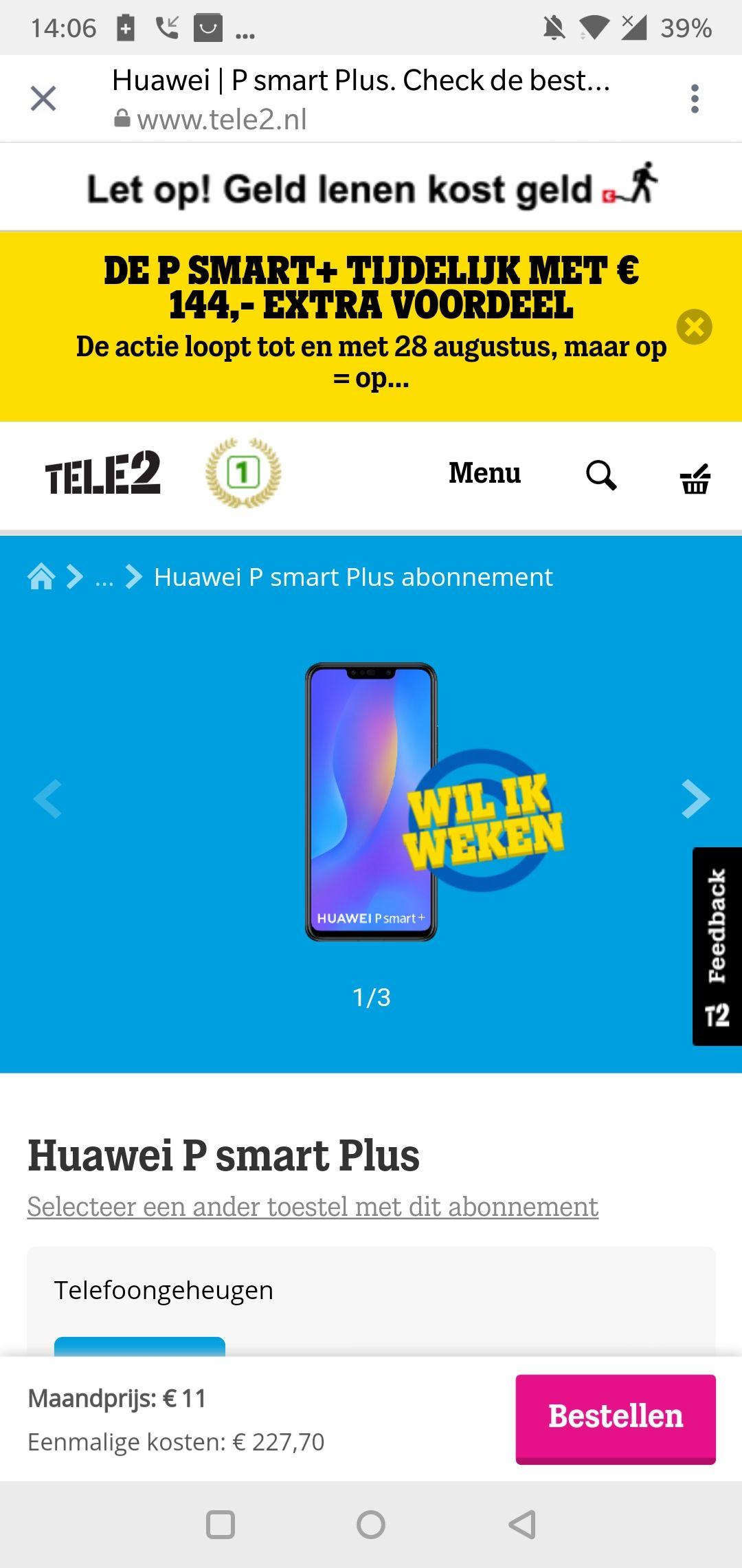 Huawei p smart PLUS tijdelijk 144 EU extra korting