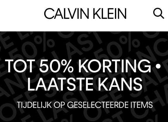 Tot 50% korting op geselecteerde items @ Calvin Klein
