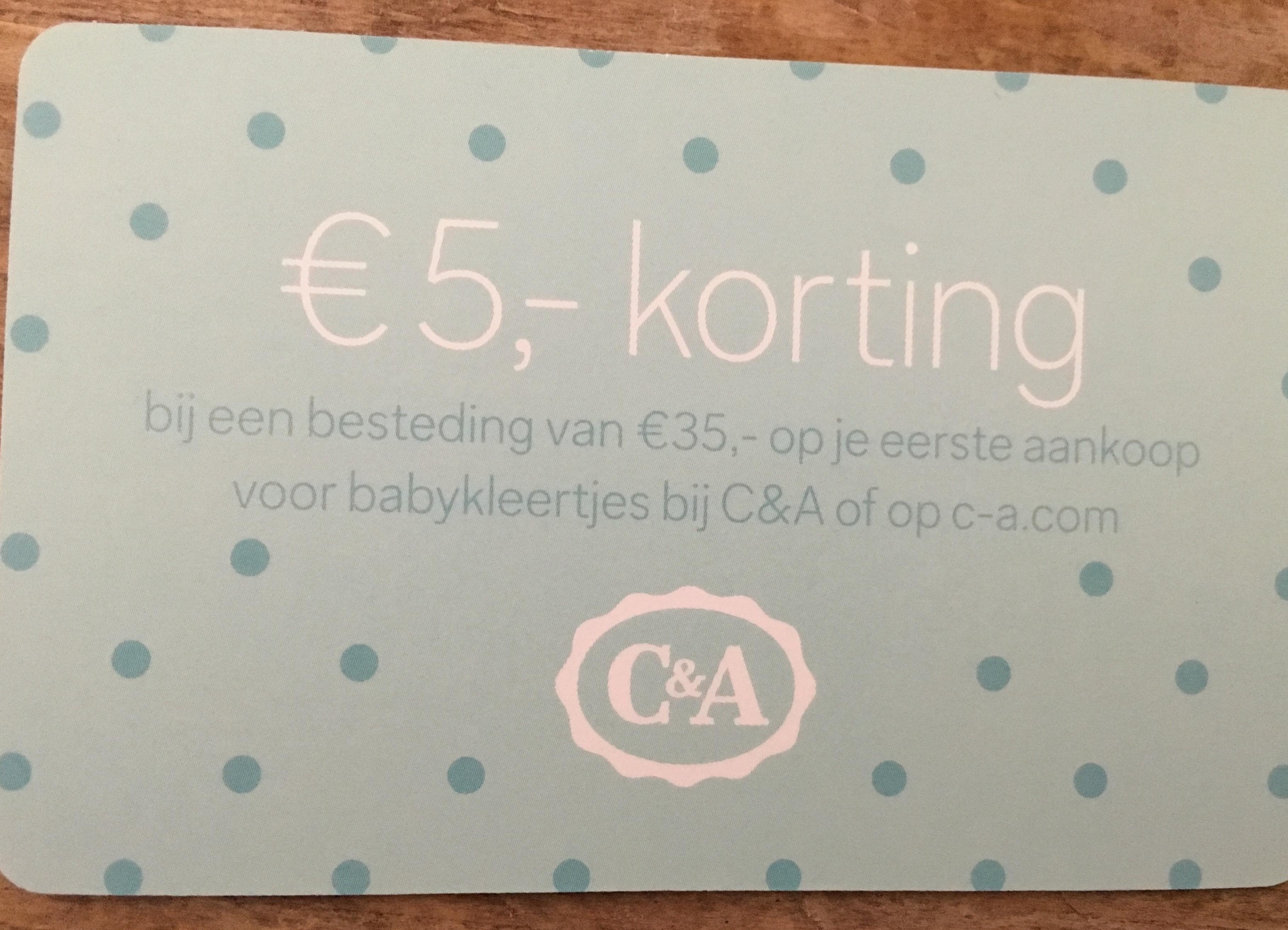 €5 korting bij besteding van €35 aan babykleding bij C&A