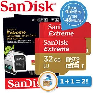 2  SanDisk Extreme 32GB Class 10 microSDHC geheugenkaartjes voor € 37,90 @ iBOOD