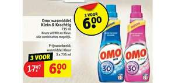 Omo wasmiddel 3 flessen voor €6