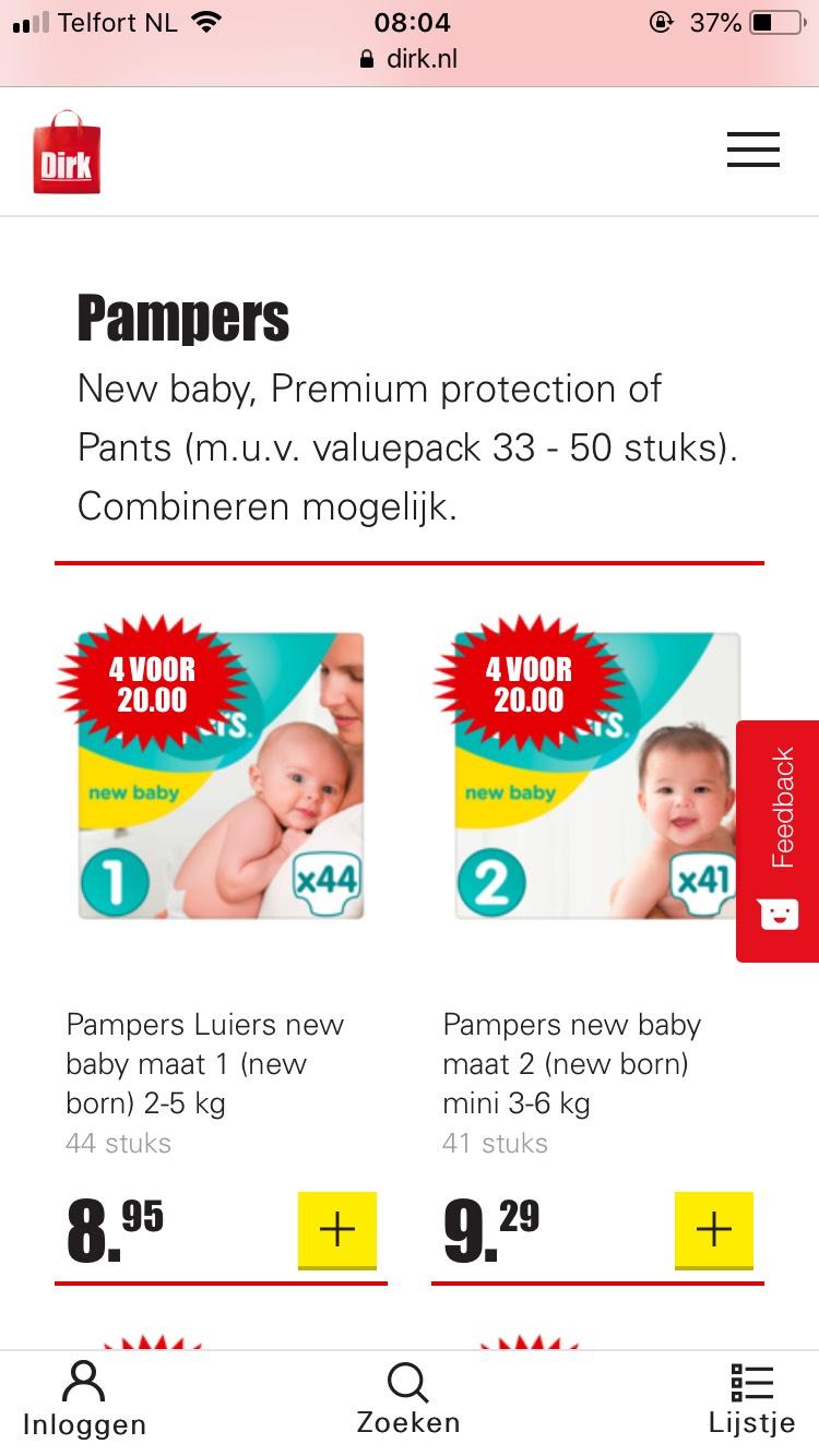 Pampers, 4 pakken voor €20,-