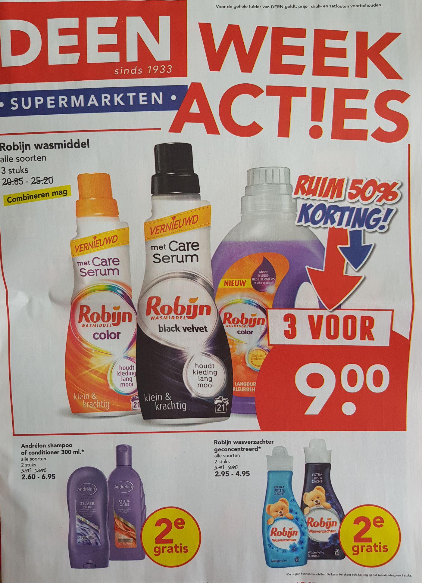 Week acties bij Deen, 3 Robijn wasmiddel voor 9 euro.