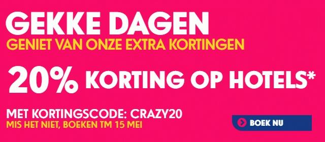 20% korting op Hotelboekingen door kortingcode @ Ebookers.nl
