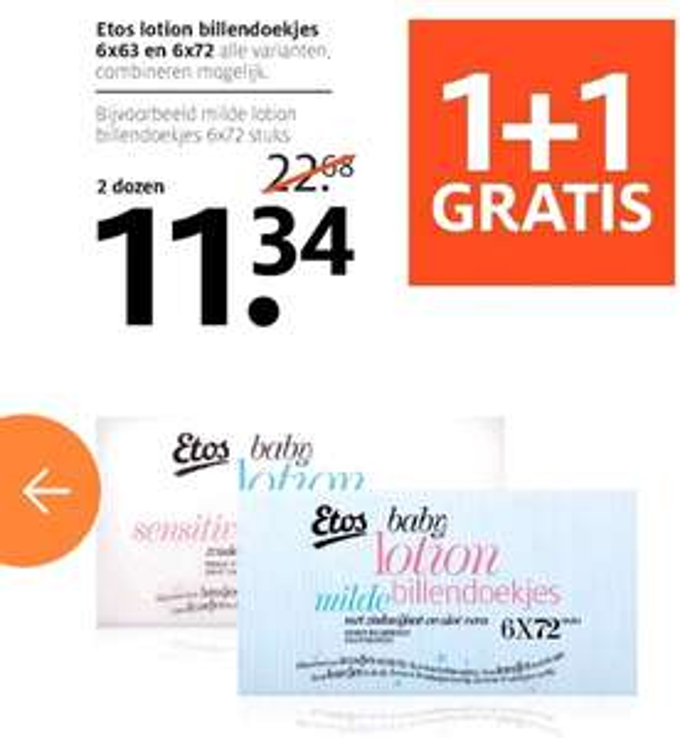 Etos lotion billendoekjes 1+1 gratis