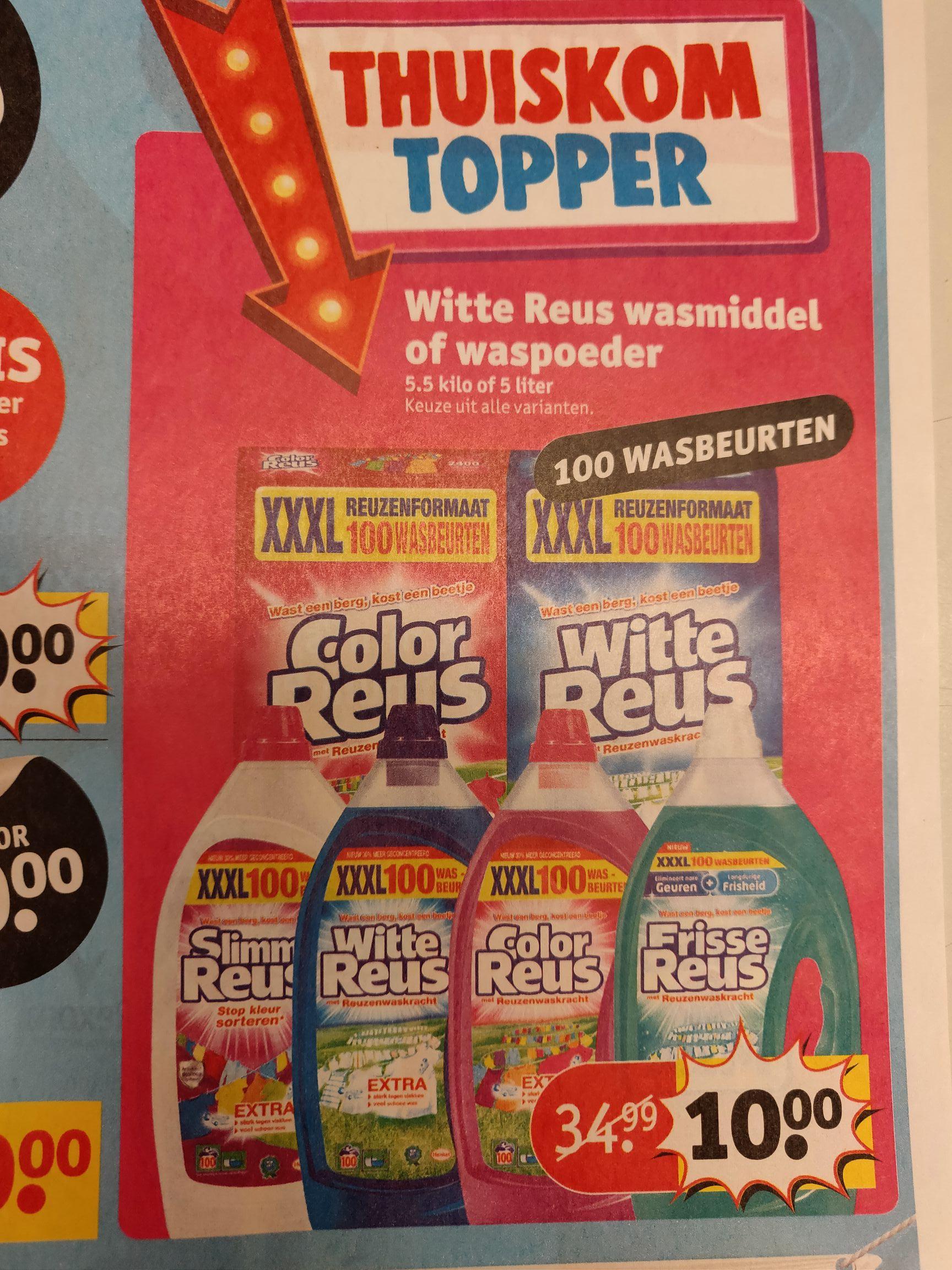 Witte of Color Reus XXXL. 100 wasbeurten voor 10,00 @Kruidvat