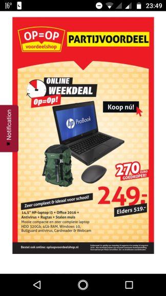 Leuk voor schoolgaande kinderen: HP Probook plus rugzak en Manhattan Stealth Touch Mouse