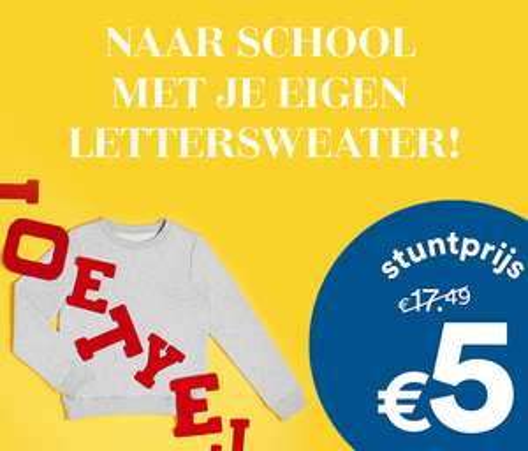 JBC Naar school metjouw eigen lettersweater.
