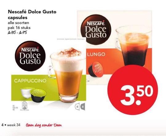 Bij Deen supermarkt, alle soorten dolce gusto €3,50