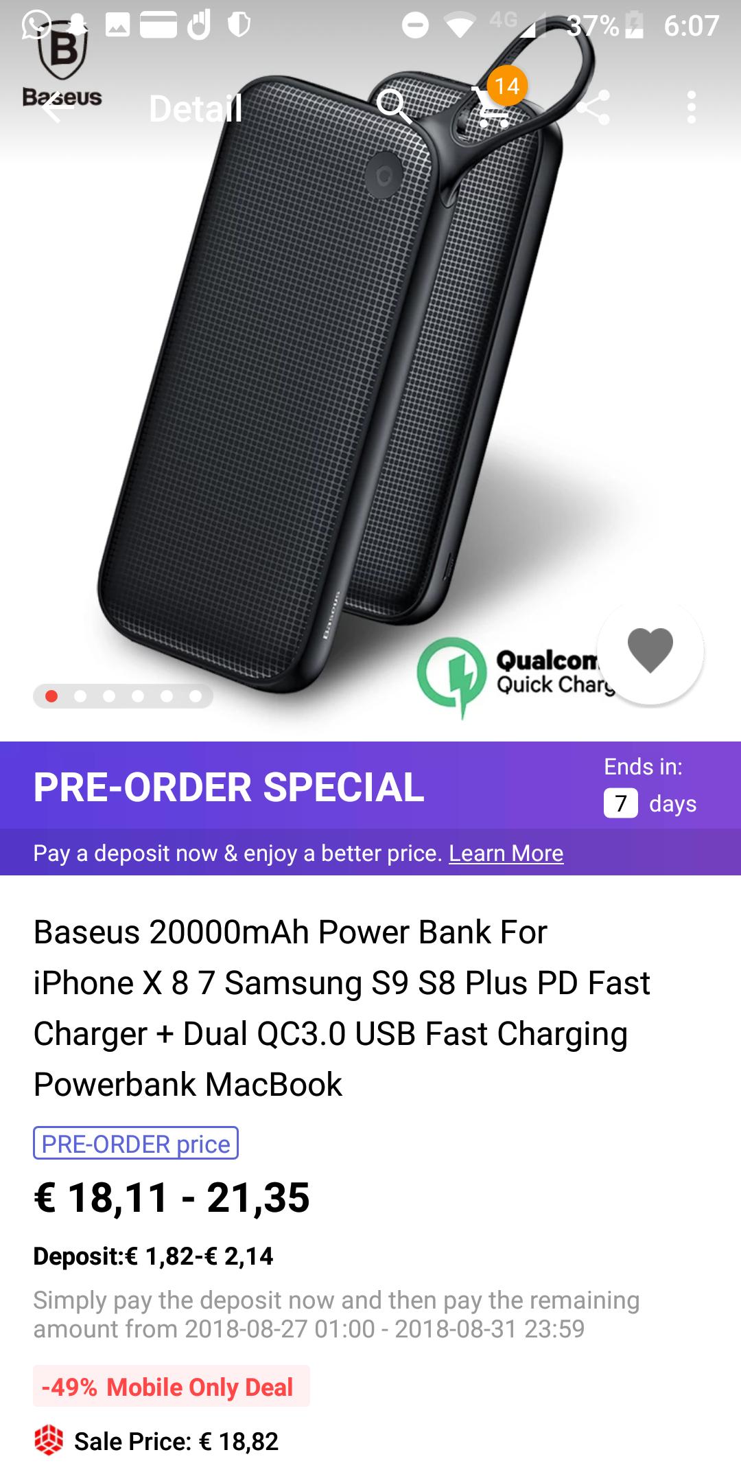 Baseus 20000mAh Power Bank Quick charge