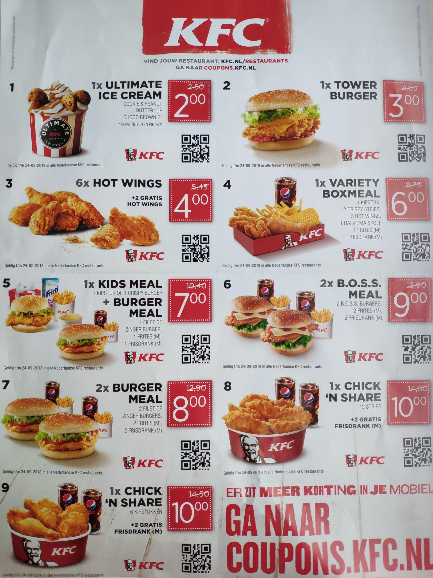 KFC coupons 9 stuks , bv. 2x burger meal voor €8
