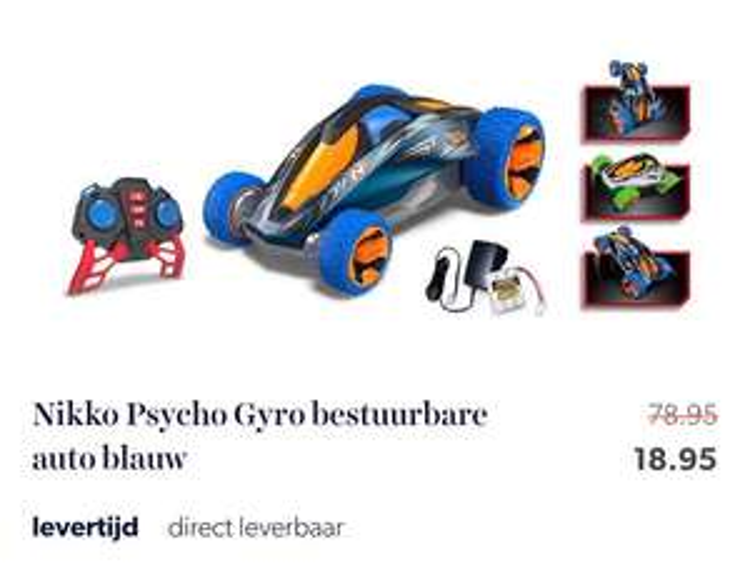 Nikko Psycho Gyro bestuurbare auto blauw