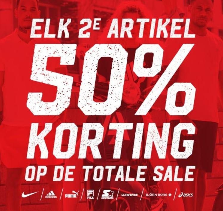 Actie: 2e sale artikel 50% extra korting + met code 10% extra @ Aktiesport