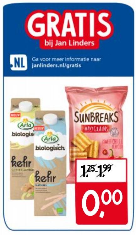 Gratis Arla Biologisch kefir en Lays Sunbreaks bij Jan Linders