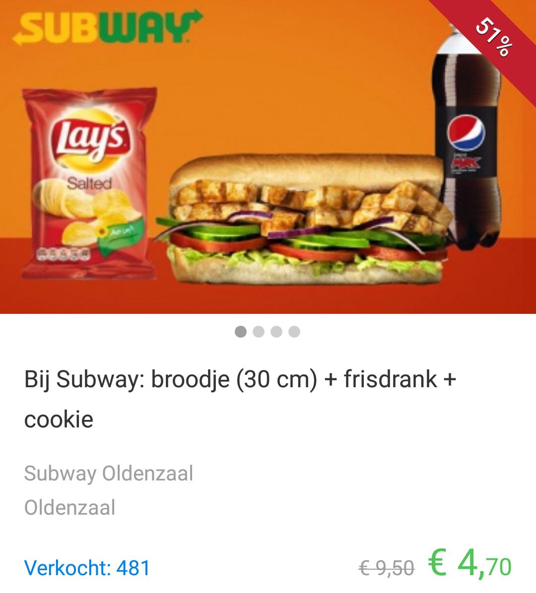 Via SocialDeal goedkope sub-menu's in Roermond, Eindhoven, Oldenzaal, Echt en Stein (groot voordeelmenu voor €4,70)
