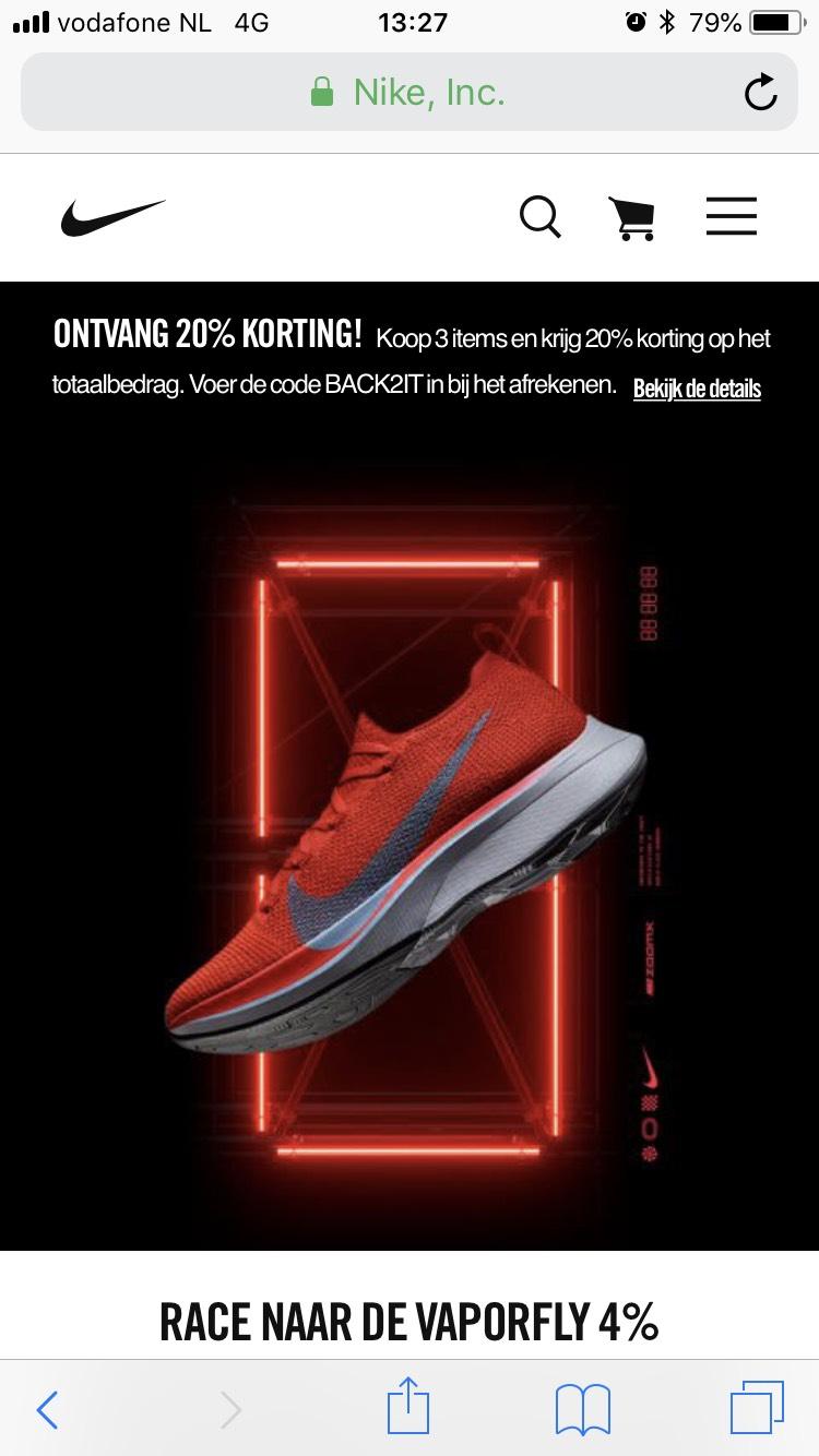 20% korting bij Nike bij aankoop van 3 items