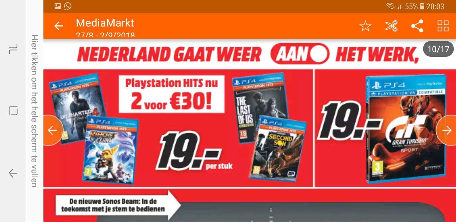 2 PS4 hits voor 30 euro of 19 euro per stuk MM