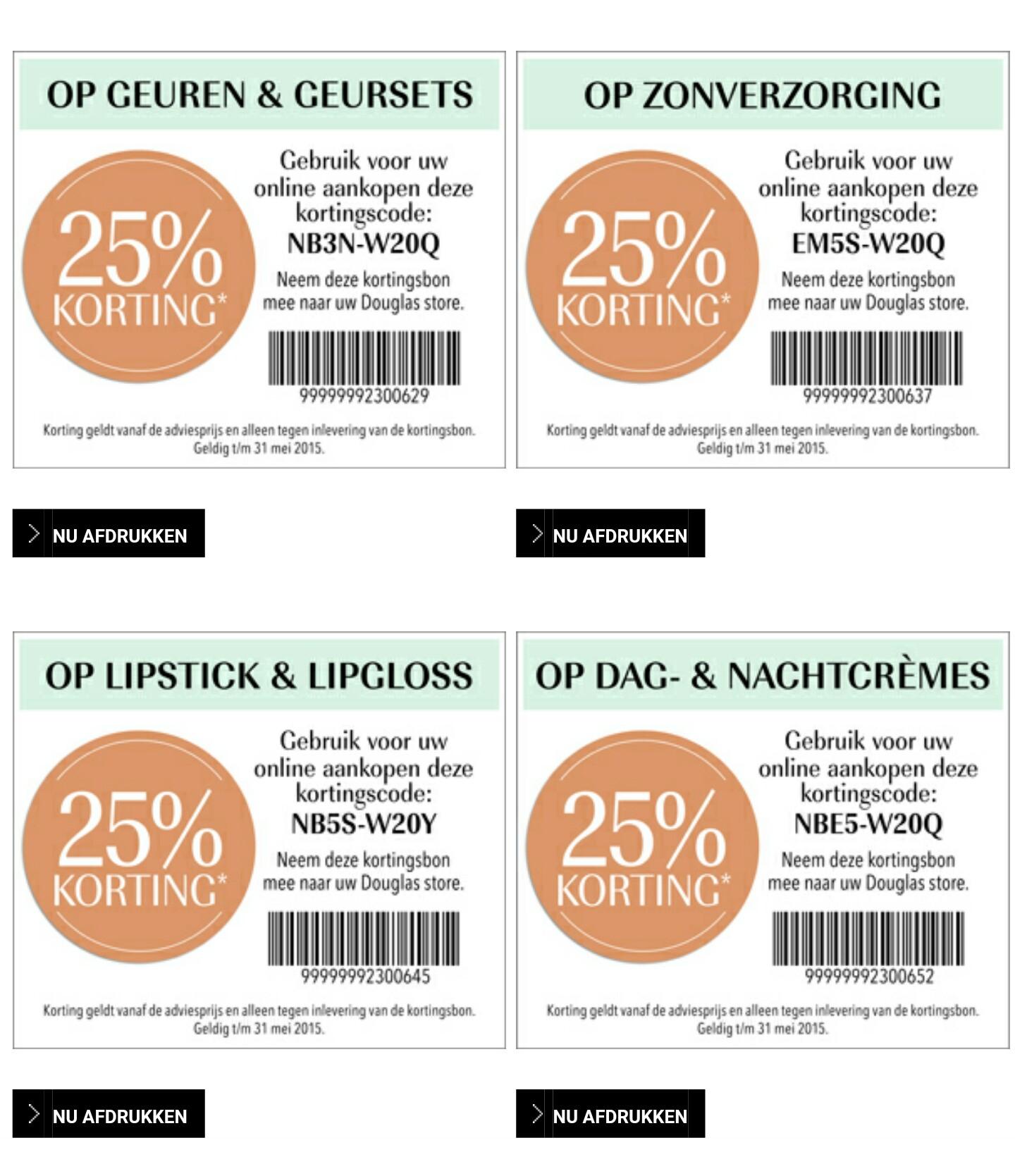 kortingscodes voor 25% korting op geuren & geursets, zonverzorging, lipstick & lipgloss en dag- & nachtcrèmes @ Douglas