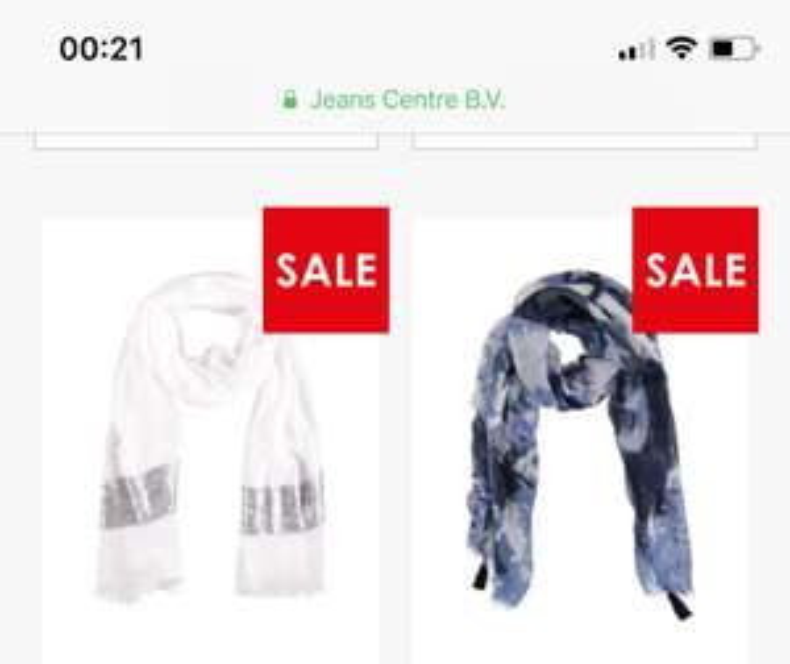 Verschillende Sarlini sjaals vanaf €2 @ JeansCentre