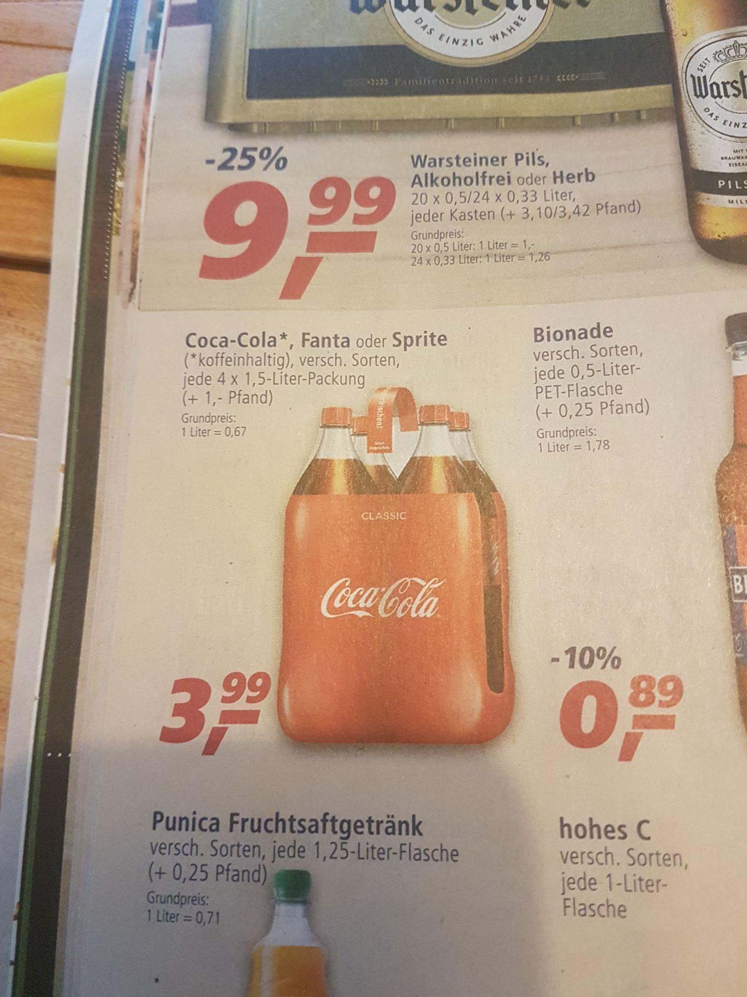 Grensdeal Duitsland:  Coca Cola 4x 1,5 liter voor €3.99