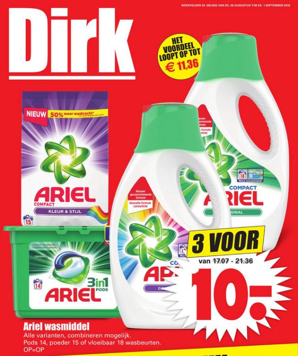 Dirk | Ariel wasmiddel 3 voor €10