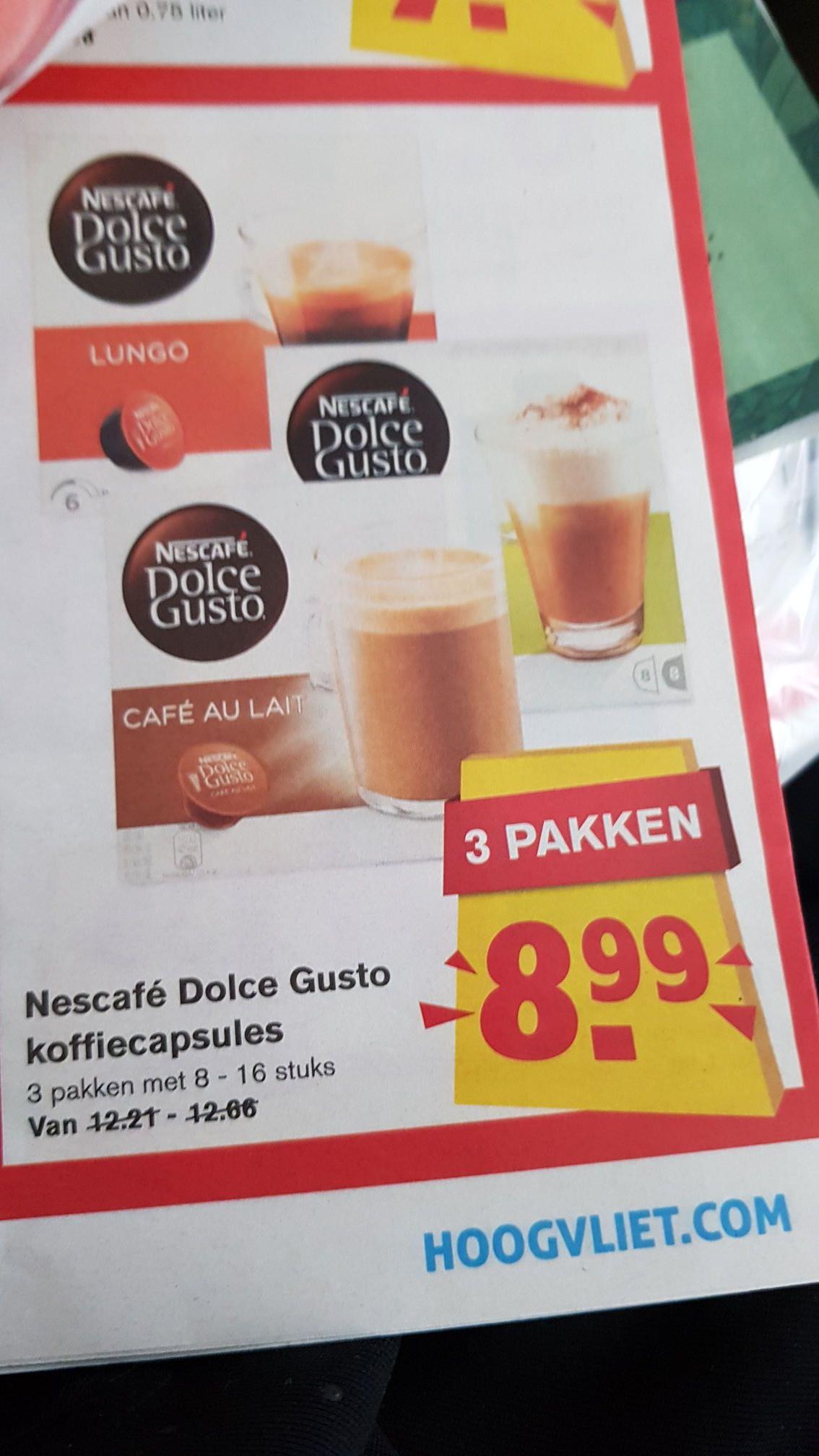 3 pakken Nescafe dolce gusto capsules voor €8,99 @ Hoogvliet