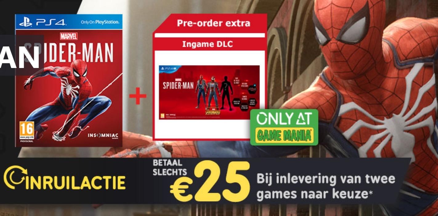 Inruilactie: Spider-Man vanaf €25 bij inlevering van twee PS4/XONE/Switch games @ Gamemania