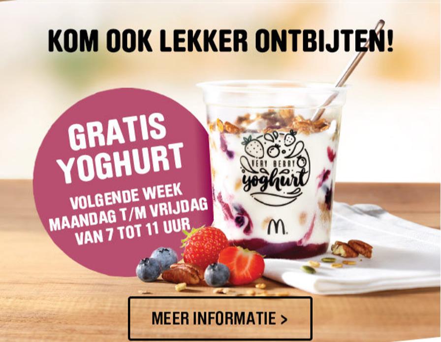 Gratis yoghurt bij McDonald's tussen 7:00-11:00