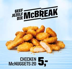 Mc Break; 20 chicken McNuggets voor €5,- bij McDonald's