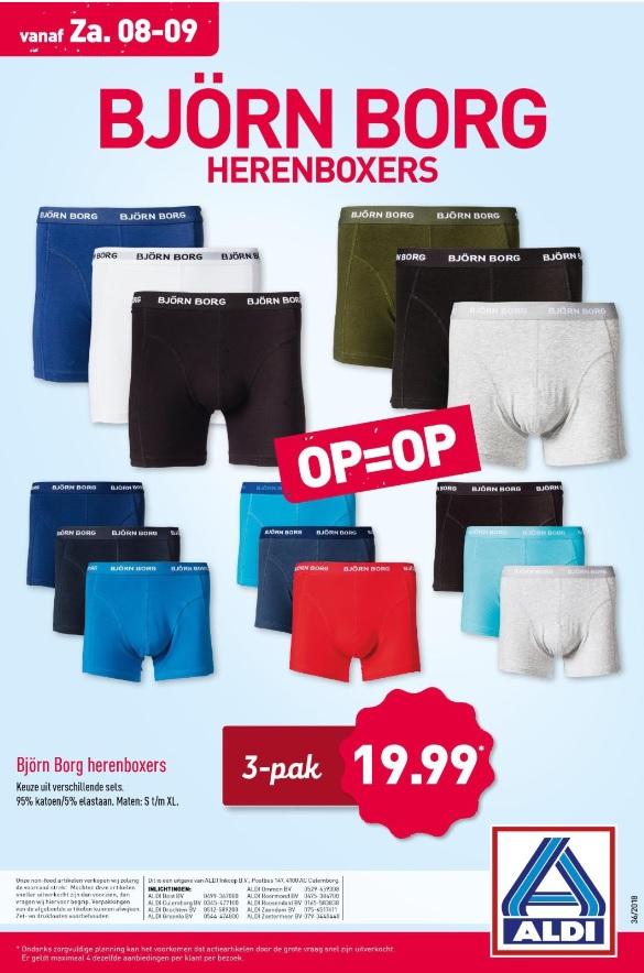 Aldi: 3-pak Björn Borg herenboxers €19,99