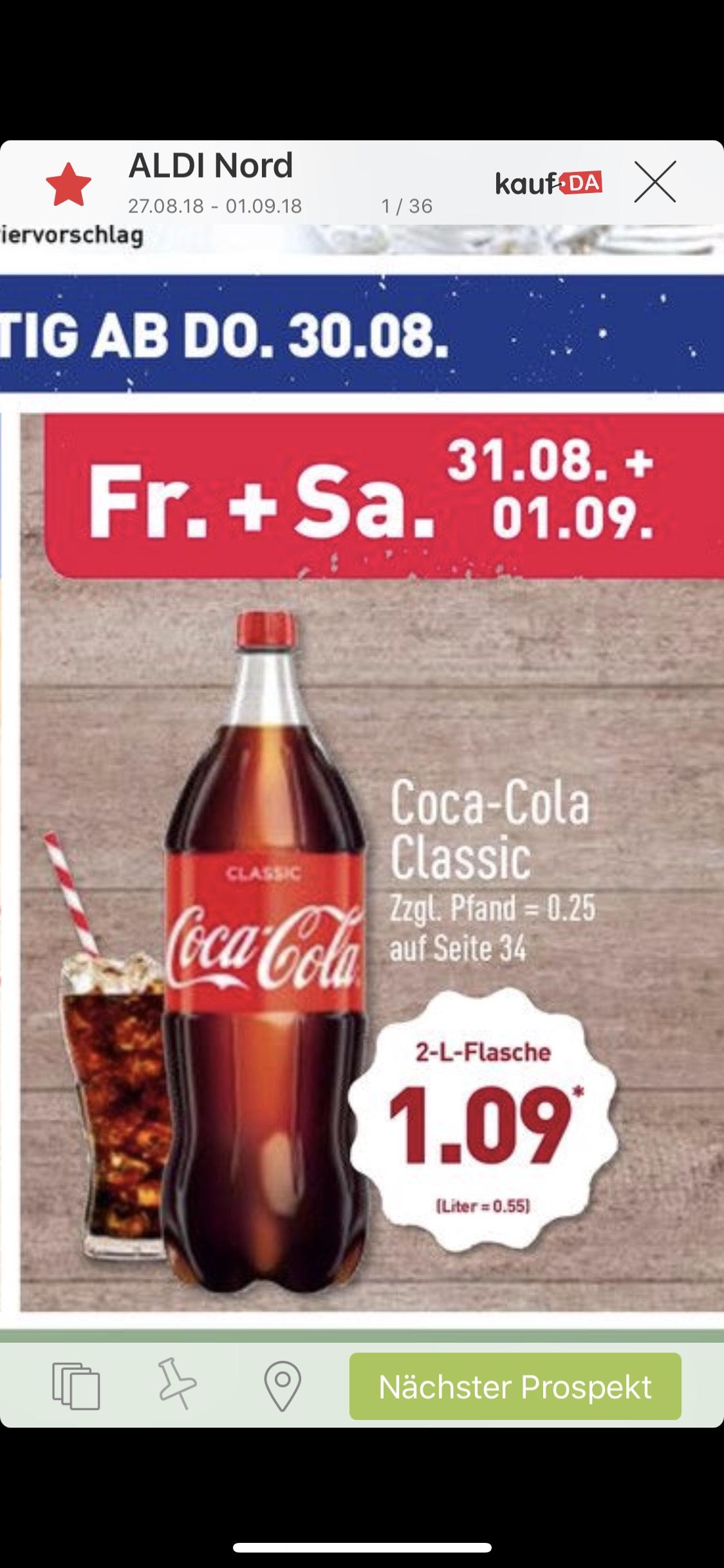 Grensdeal Duitsland bij de Aldi: Coca Cola 2L fles voor €1,09